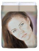 Actress And Model Susan Ward Blue Eyed Beauty With A Mole Duvet Cover