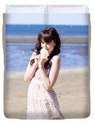 Adorable Seaside Girl Duvet Cover