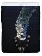 Aerial View Of Passenger Ferry Boat Going To Southworth Puget So Duvet Cover