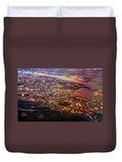 Aerial View Of Riga. Latvia. Rainbow Earth Duvet Cover by Jenny Rainbow