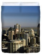 Aerial View Of Skyscrapers In A City Duvet Cover