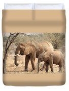 African Elephant Mother And Calf Duvet Cover