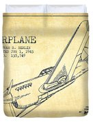 Airplane Patent Drawing From 1943-vintage Duvet Cover