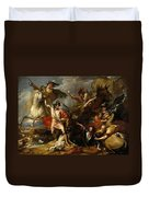 Alexander IIi Of Scotland Rescued From The Fury Of A Stag By The Intrepidity Of Colin Fitzgerald  Duvet Cover