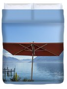 Alpine Lake With Parasol Duvet Cover