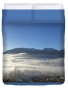 Alpine Village Under Sea Of Fog Duvet Cover
