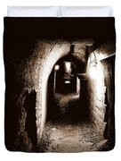A Tunnel In The Catacombs Of Paris France Duvet Cover