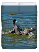 American Coots Fighting Duvet Cover