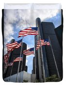 American Flags In Front Of The Detroit Renaissance Center Duvet Cover
