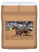 American Rodeo Female Barrel Racer White Blaze Chestnut Horse II Duvet Cover by Sally Rockefeller
