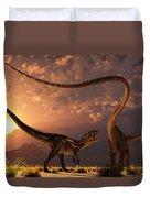 An Allosaurus In A Deadly Battle Duvet Cover