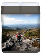 An Athletic Female Hiker Hikes Duvet Cover
