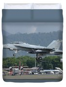 An Fa-18 Super Hornet Of The U.s. Navy Duvet Cover