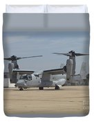 An Mv-22 Osprey Taxiing At Marine Corps Duvet Cover
