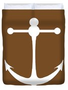 Anchor In Brown And White Duvet Cover