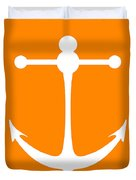 Anchor In Orange And White Duvet Cover