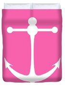 Anchor In Pink And White Duvet Cover