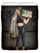 Army Pinup Girl At Rifle Range. Bullet Proof Duvet Cover