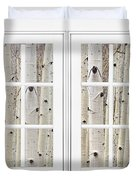 Aspen Forest White Picture Window Frame View Duvet Cover