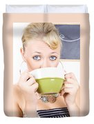Attractive Blonde Woman Drinking Green Tea Duvet Cover