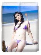 Attractive Girl On The Beach Duvet Cover