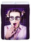Attractive Young Nerd Girl With Surprised Look Duvet Cover