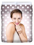 Attractive Young Retro Girl With Look Of Surprise Duvet Cover