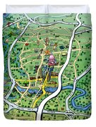 Austin Texas Cartoon Map Duvet Cover