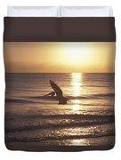 Australian Pelican Glides At Sunrise Duvet Cover