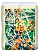 Autumn Leaves And Pinecone Background Duvet Cover