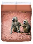 Baboons In African Bush Duvet Cover
