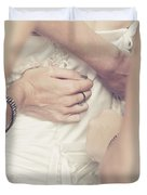 Back Of Wedding Dress With Helping Hands Of Bridesmaids Duvet Cover