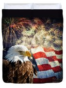 Bald Eagle And Fireworks Duvet Cover by Michael Shake