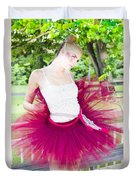 Ballerina Stretching And Warming Up Duvet Cover