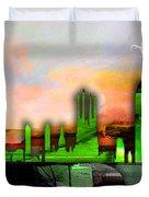 Barcelona Spain Skyline Watercolor Duvet Cover