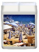 Beach In Cannes Duvet Cover