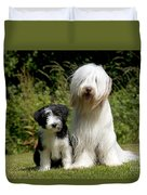 Bearded Collie And Puppy Duvet Cover