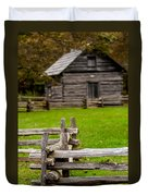 Beautiful Autumn Scene Showing Rustic Old Log Cabin Surrounded B Duvet Cover