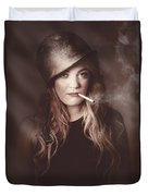 Beautiful Blond Army Pinup Girl Smoking Cigarette Duvet Cover