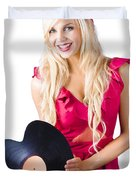 Beautiful Blonde With Heart-shaped Record Duvet Cover