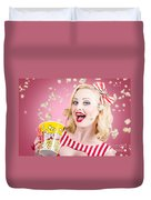 Beautiful Girl Watching Premier At Movie Theater Duvet Cover