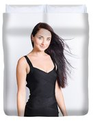 Beautiful Model With Long Straight Brunette Hair Duvet Cover