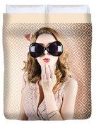 Beautiful Surprised Girl Wearing Big Sunglasses Duvet Cover
