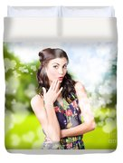 Beautiful Valentines Day Woman. Cosmetic Love Duvet Cover