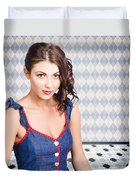 Beautiful Young Brunette Pin-up Woman  Duvet Cover
