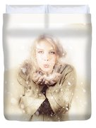 Beautiful Young Woman Blowing Snow In Winter Style Duvet Cover