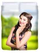 Beauty Girl. Beautiful Young Woman With Clean Skin Duvet Cover