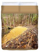 Beaver Dam In Fall Colored Forest Wetland Swamp Duvet Cover