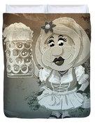 Beer Stein Dirndl Oktoberfest Cartoon Woman Grunge Monochrome Duvet Cover