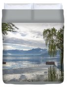 Bench With Trees On A Flooding Alpine Lake Duvet Cover